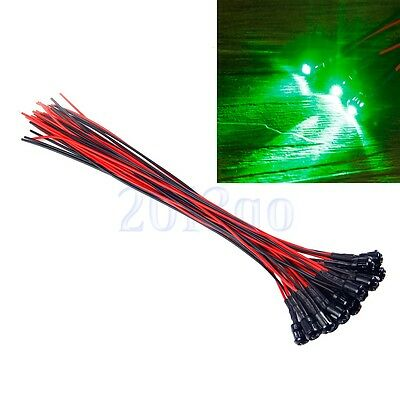 5pcs 3mm Jade Green Pre-Wired Constant 12v LEDs Black Prominent Holders CG
