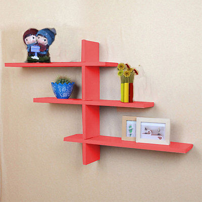 UK Red Set of 7 Retro T-Shaped Floating Wall Book Shelves Storage Shelf Display