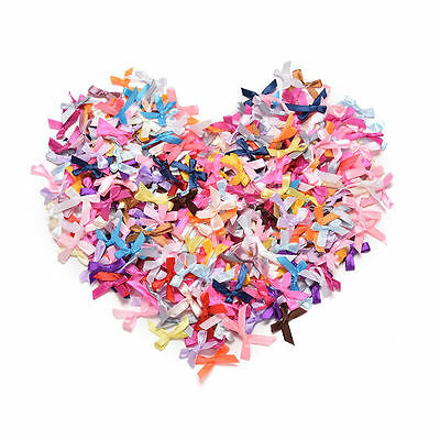 100PCS Mini Satin Ribbon Bows Flowers Gift Craft Wedding Decoration DIY Ornament