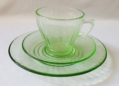 Vintage C1940's Green Glass Trio - Cup Saucer And Plate - Ribbed Pattern