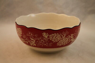 222 Fifth Andover Soup Cereal Bowl Christmas Pinecone Red Lodge Trees Candy Dish
