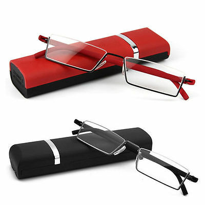Unisex TR90 Reading Glasses Semi Rimless +1.0--+4.0 strength With Case Black/Red