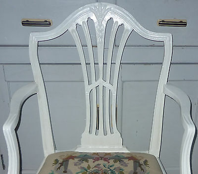 ANTIQUE painted WOODEN CHAIR with HAND-EMBROIDERED TAPESTRY SEAT