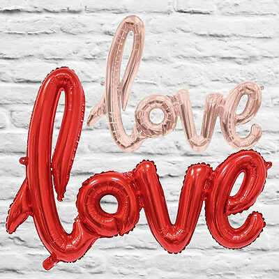 Love Balloon Metallic Foil Rose Gold or Red Air Filled 102cm Wedding Engagement