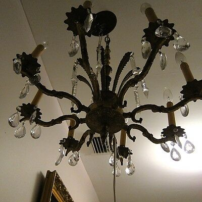 Antique Vtg. Made in Spain 8 arms Chandelier Ceiling w/Crystal & Crystal Spears