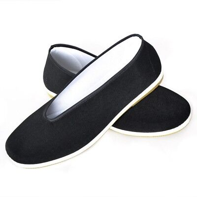 Men Chinese Black Arts Rubber Sole Kung Fu Wushu Canvas cotton Shoes Exercise