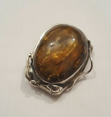 Sterling Silver And Amber Brooch Pendant Art Nouveau Design?