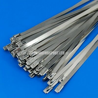 50 x Stainless Steel Cable Tie 300mm x 4.6mm Exhaust Heat Wrap Manifold Downpipe