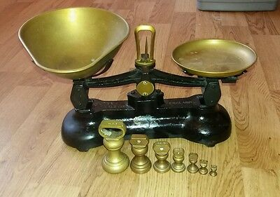 Libra Cast Iron Kitchen Scales Black Brass Bell Weights Vintage Made In England