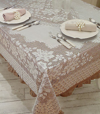Tovaglia Shabby Chic Vinyl Lace Christmas Collection Blanc Mariclo 152 x 264 cm