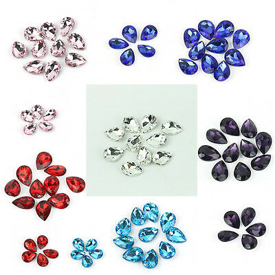 10pcs Teardrop Faceted glass crystal Rhinestone Charm Loose Spacer beads 10x14mm