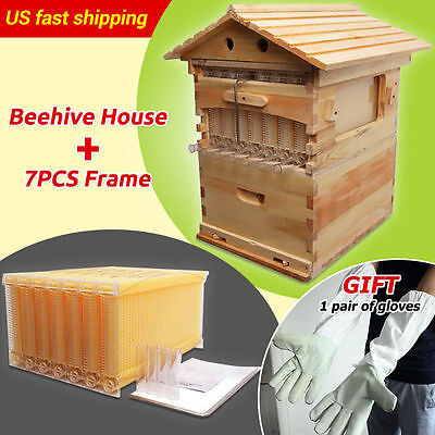 7Pcs Auto Flow Durable Bee Hive Frames + Wooden Beehive House Beekeeping Tools