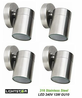 4 x 316 Stainless Steel LED Outdoor Exterior Fixed Wall Lights 240V 12W GU10