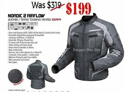 DRIRIDER NORDIC 2 AIRFLOW LEATHER /VENTED Motorcycle jacket NEW w/proof thermal