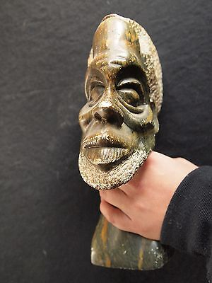 African Male Stone Bust Sculpture Carving, Green Orange Hard Stone