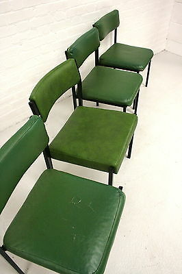 Minimal green vintage dining chairs with metal frames Midcentury chairs