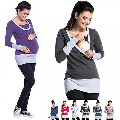Zeta Ville - Women's breastfeeding top sweatshirt pregnancy nursing panel - 457c