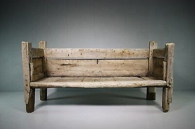 Amazing 18th Century Primitive Antique Sycamore Settle.