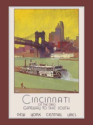 Cincinnati Ohio Gateway United States America Travel Advertisement Art Poster
