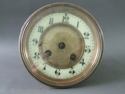 Antique French Mougin clock movement dial bezel & glass - spares or parts