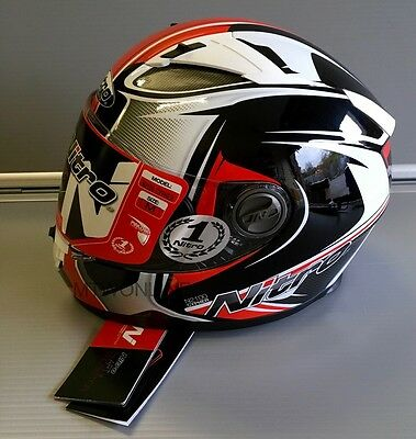 Motorcycle Sporty Full Face Helmet Nitro Cypher Black/Red/White Large