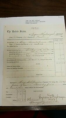 Civil War Document Francis Maes Pa Ind Cavalry Voucher No 5 Pay