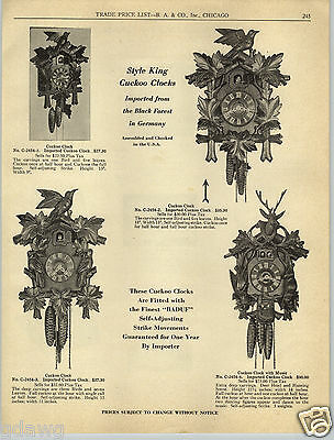 1954 PAPER AD Style King Black Forest Germany Cuckoo Clocks