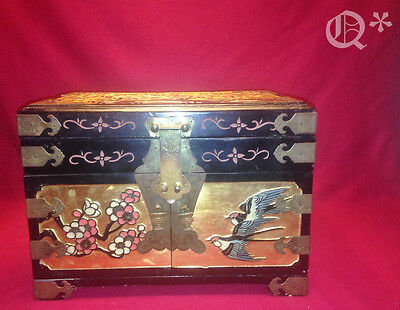 1960s Asian Carved Wood Box with Brass Straps