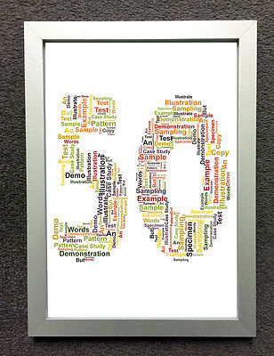 PERSONALISED WORD CLOUD ART - SIZE & FRAME CHOICES - 50th BIRTHDAY ...