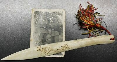Orig. Ww2 German Letter Bone Trench Opener Nord Front Suomi Finland + Photo