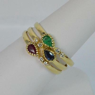 Set of Three 18ct Gold Stack Rings - Diamond Emerald Sapphire Ruby D0455