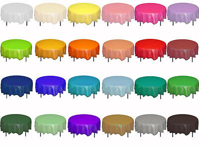 """Premium Plastic Table Covers 84"""" ROUND HEAVY DUTY TABLECLOTH disposable-30 color"""