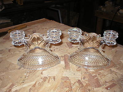 L.E. Smith Mt Pleasant Candle Stick Holders Double Tier Set of 2