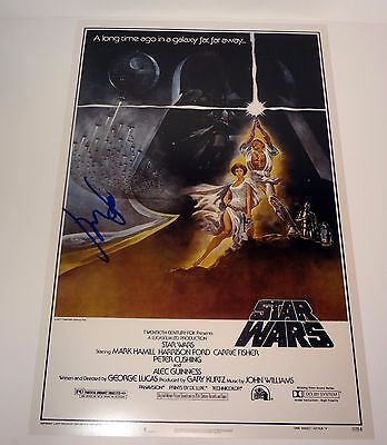 Harrison Ford Han Solo Signed Autograph Star Wars Movie Poster Proof Coa