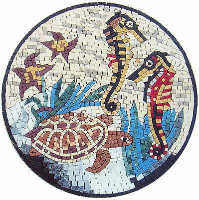 """20"""" Marble Mosaic Art Tile Stone Sea_Horses Creatures Various Fish In The Sea"""