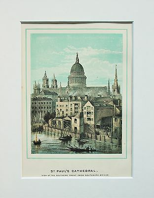 St. Paul's Cathedral South Front - Antique Colour Print Engraving Lithograph