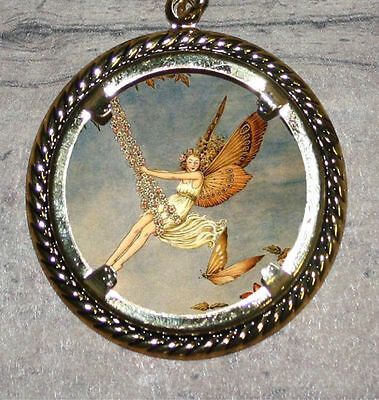 Butterfly FAIRY SWING altered Art Large Ornament Frame Pendant 4 Necklace