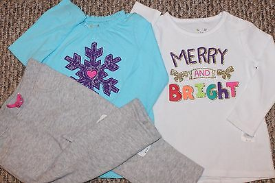 New! Girls 3 pc Outfit/Lot/Set (2 Shirts, Pants; Merry, Bright) - Size 18 mo