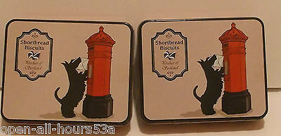 2 x Christmas Scottie Dog Tartan Tins of Shortbread Biscuits Great Xmas Gift