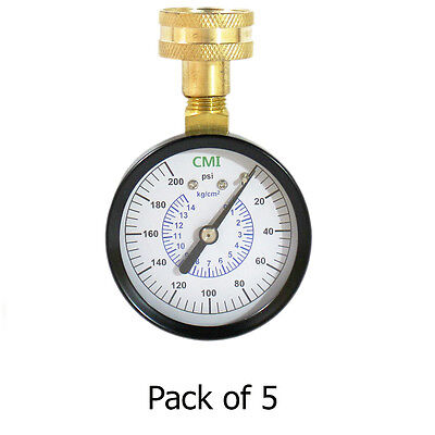 """200 PSI Water Pressure Gauge, 3/4"""" NPT Connection, 2.5"""" (63mm) Dial - Pack of 5"""