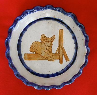 """Clumber Spaniel Club of America Pottery 9"""" Decorative Dish Plate Dog SIGNED 1999"""