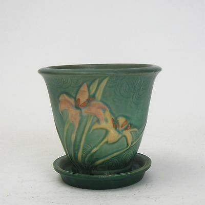 Roseville Pottery Vintage Green Zephyr Lily Planter & Liner 672-5 Inv 4734 AS IS