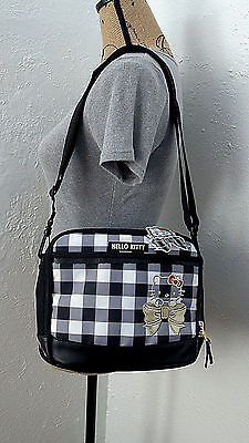 New Sanrio Hello Kitty Black and White Check Insulated Lunch Bag