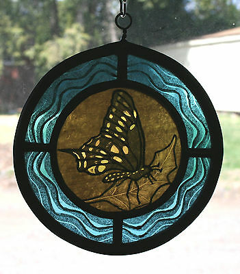 Stained Glass,Hand Painted,Kiln Fired, Panel, Amber Butterfly, # 1006-02
