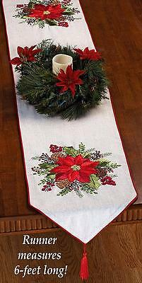 Rustic Holiday Embroidered Ribbons Poinsettia Christmas Decor Table Runner 72x14
