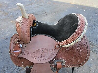 15 16 Barrel Racing Silver Show Pleasure Trail Leather Western Horse Saddle Tack