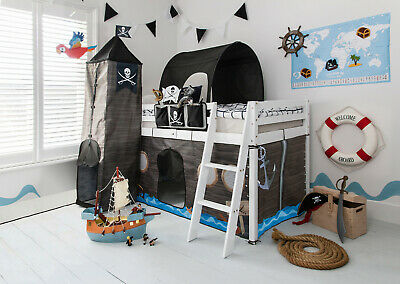 Cabin Bed Midsleeper Kids Pirate Hideaway with Tent, Tunnel, Tower & Tidy