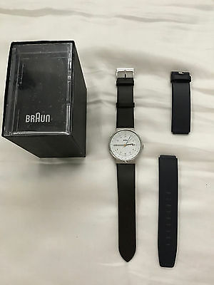 Braun Modern BN0142WHBLG Men's watch NWOT TAGS 2 bands blue & brown leather