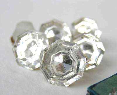 Vintage Rhinestone Buttons. Crystal Jewel Mirrored Glass 1940s Germany