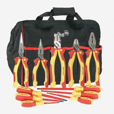 Wiha 32390 11 Piece Insulated Industrial Pliers & Driver Set in Canvas Tool Bag